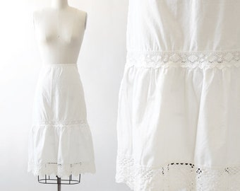 Linz Austria crochet skirt | Vintage 70s Linz white cotton peasant skirt