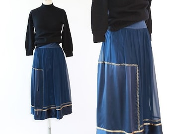 Nautical silk skirt | Vintage 80s silk midi skirt