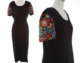 Floral beaded dress | Vintage 90s Liz Claiborne maxi dress | Beaded black dress