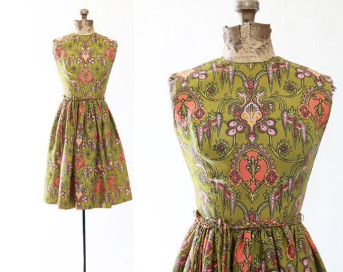 Baroque scroll dress | Vintage 50s silk dress | 50s full skirt mini dress