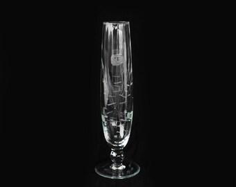 Antique vintage 40s floral etched glass bud vase