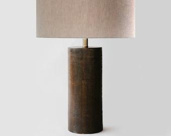 PALECEK cylinder wood lamp | vintage Palecek Mid century modern lamp