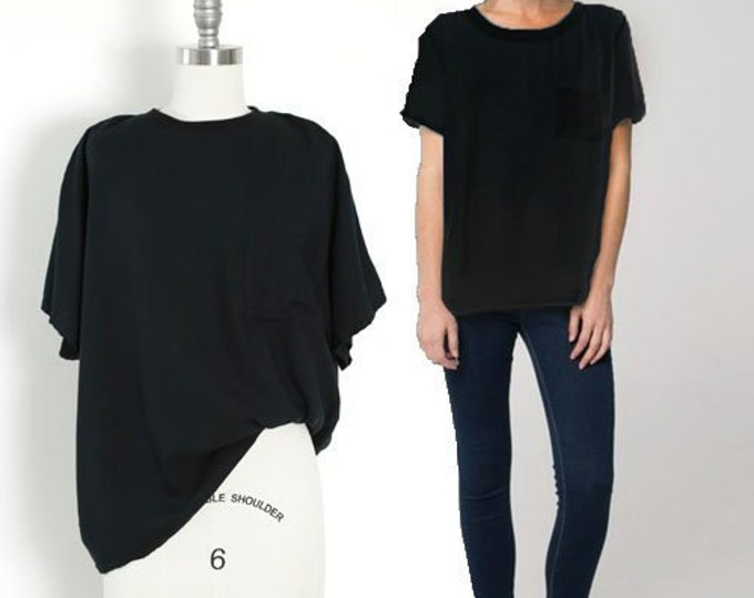 Black rayon pocket tee blouse