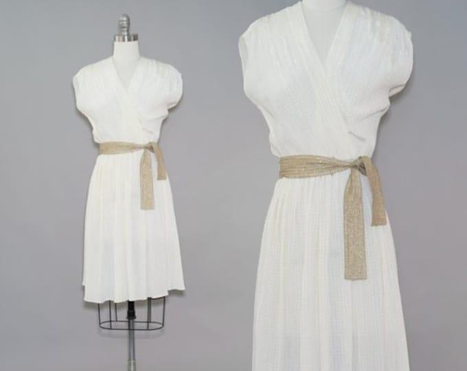 Grecian midi dress | Vintage 70s Metallic gold striped midi dress