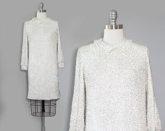 Rare Vintage 60s Glam Heavily Beaded Mod Couture Dress | Beaded wedding dress