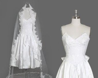 Gunne Sax Wedding Dress | Vintage 80s sweetheart lace Gunne Sax white wedding dress | Short wedding dress