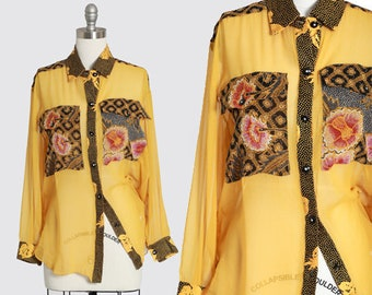 Kenhi silk blouse | Vintage 90s floral yellow sheer silk blouse