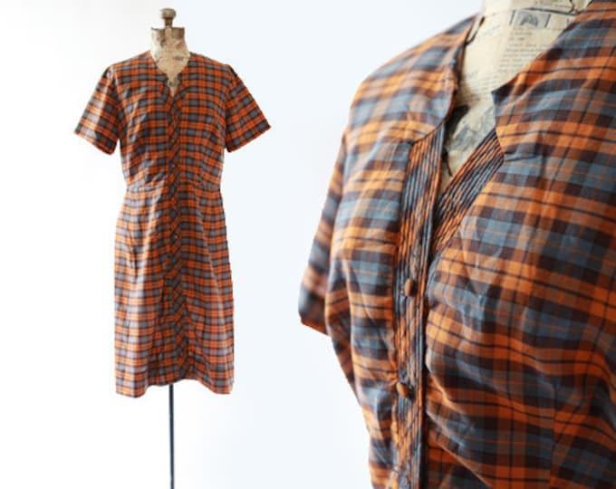 Ann Taylor plaid house dress | 50s cotton dress | orange plaid dress M