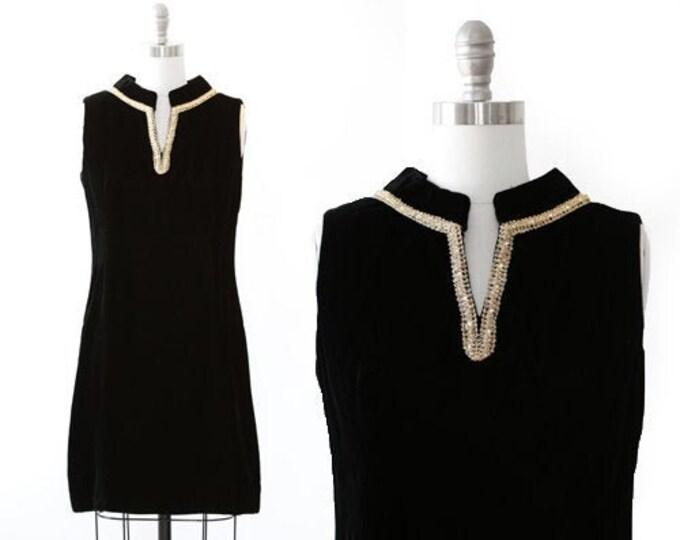 Vintage 60s black velvet MOD mini dress   Metallic rainbow gold mini