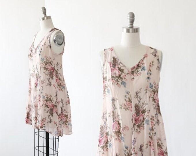 botanical babydoll dress   Vintage 90s floral rayon mini dress   Sheer mini dress