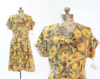 Mays floral dress | Vintage 50s 60s Deadstock floral day dress | 1950s yellow dress M