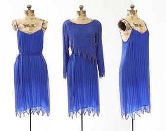 Swee Lo beaded dress   Vintage 70s Disco blue beaded silk dress   1970s 3pc beaded party dress