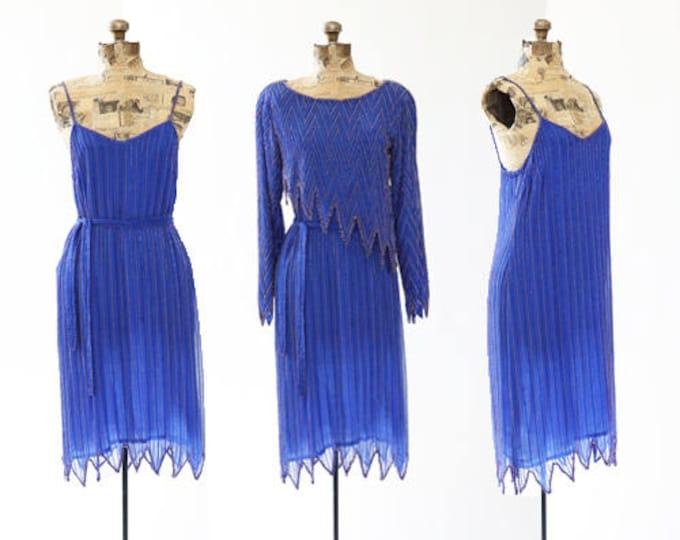 Vintage 70s beaded SILK Sequin zigzag  Deco dress | 3pc beaded dress