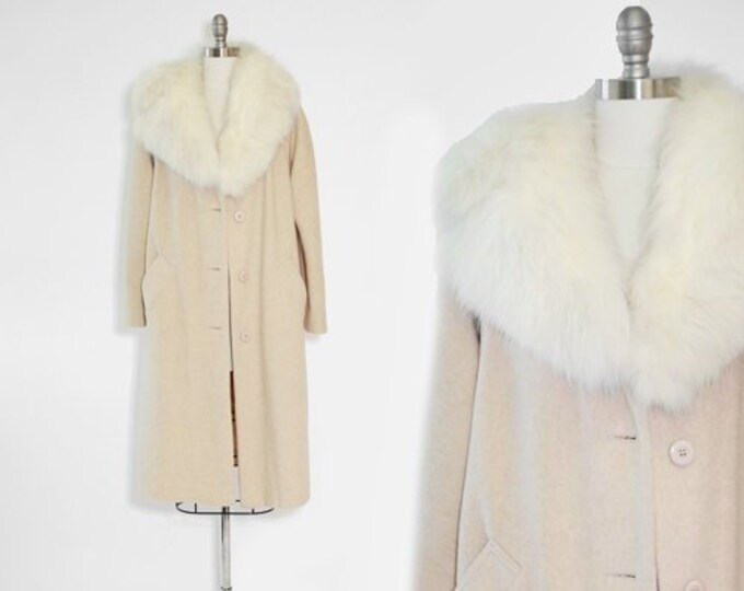 White Fox Fur coat | vintage 1960s fur collar coat | fox collar wool 60s coat