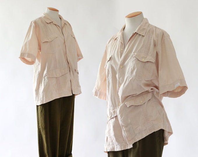 CHRISTIAN DIOR Safari shirt | Vintage 80s cotton shirt | Unisex Khaki Top