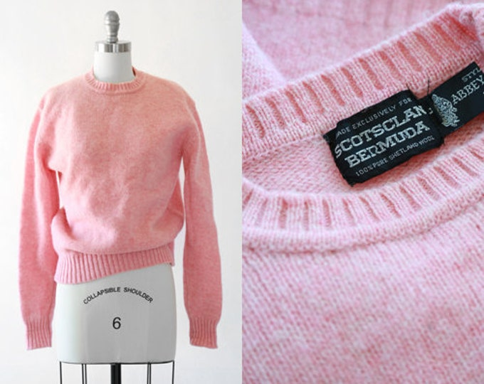 Scotsclan Bermuda knit sweater | Vintage 70s Pink knit wool sweater | Pink Shetland wool sweater