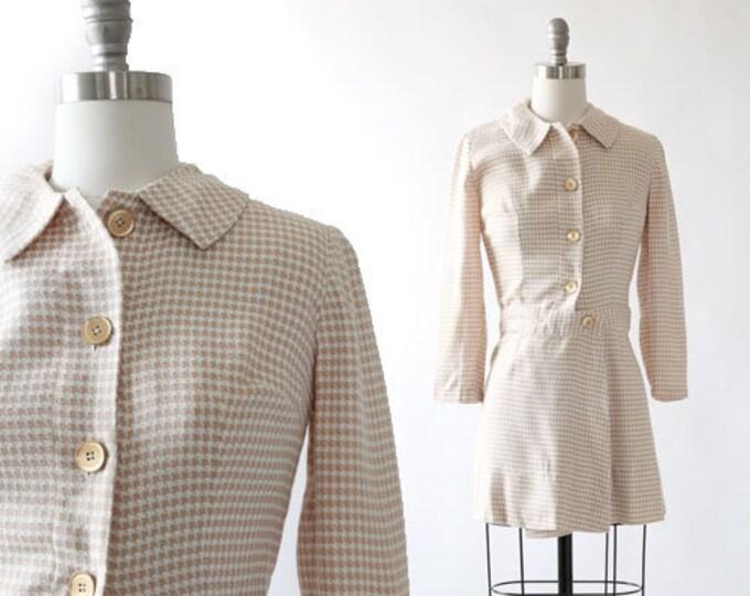 Vintage 60s houndstooth linen mini dress