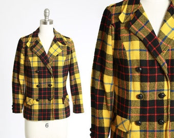 Wippette plaid blazer | Vintage 70s yellow plaid wool blazer | 1970s yellow plaid double breasted coat