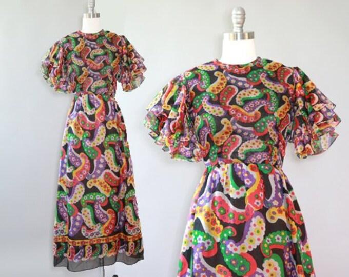 Paisley dress | Vintage 60s Abstract ruffle paisley maxi dress | Saks Fifth Ave dress