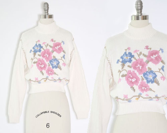 Floral knit sweater | Vintage Liz Claiborne Sport cotton knit sweater | 90s sweater