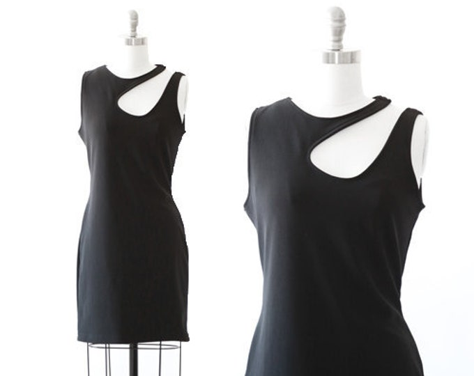 HUGO BUSCATI mini dress | Vintage 90s dress Hugo Buscati black cutout bodycon mini dress