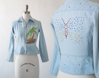 rhinestone peplum jacket | Vintage 70s 40s embroidered Palm tree denim jacket | 1970s rhinestone butter jacket