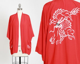 Dragon robe | Vintage 40s Japanese robe | 1940s red cotton embroidered Dragon robe