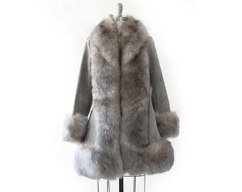 Shearling Penny Lane coat | Vintage 70s Sheepskin sherpa fur collar coat | Gray suede leather coat