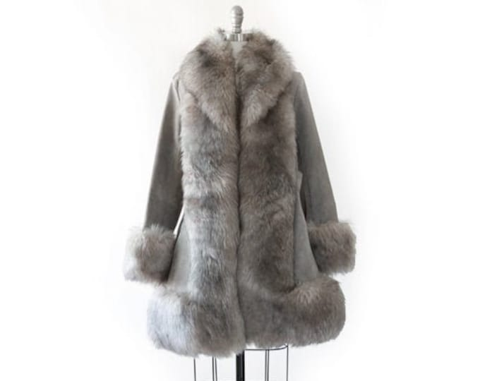 Shearling Penny Lane coat | Vintage 70s Sheepskin sherpa fur collar coat | Gray suede leather coat