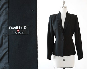 Tahari Tuxedo blazer   Vintage 90s black wool blazer   1990s pointed tuxedo blazer