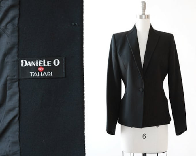 Tahari Tuxedo blazer | Vintage 90s black wool blazer | 1990s pointed tuxedo blazer