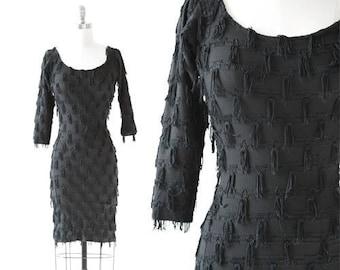 Modet fringe dress | Vintage 80s black fringe bodycon mini dress S