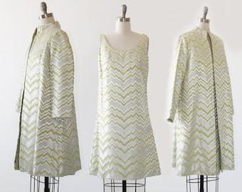 Gale Mitchell suit | Vintage 60s space age 2pc Lime suit coat dress | Zig Zag lurex suit