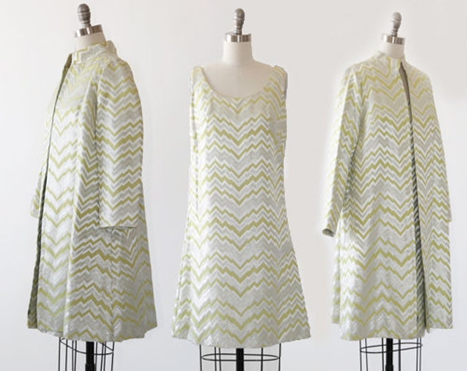 Gale Mitchell suit | Vintage 60s space age 2pc Lime suit coat dress | Zig Zag lurex suit