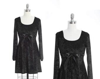 Next Era velvet dress | Vintage 90s black velvet Bow mini Dress