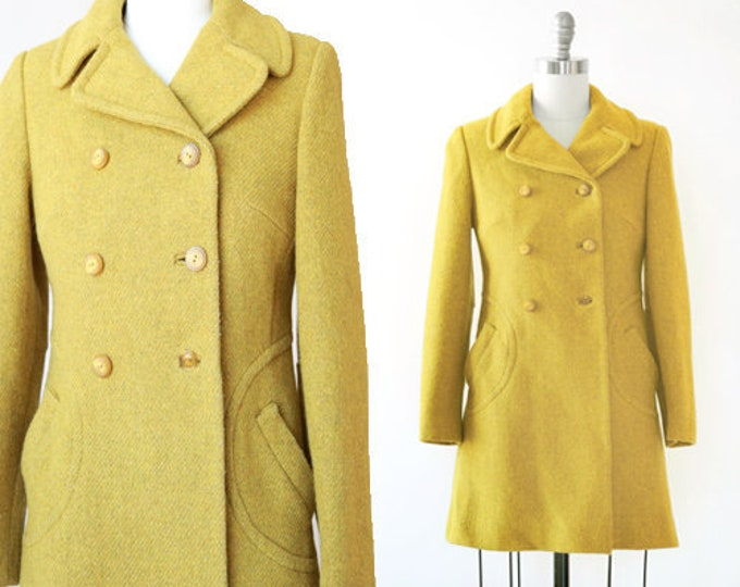 Betty Rose coat | Vintage 60s chartreuse tweed wool coat | 1960s double breasted coat