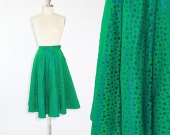 Alex Colman circle skirt | Vintage 50s taffeta circle skirt | 1950s iridescent green embroidered blue skirt | Christmas skirt
