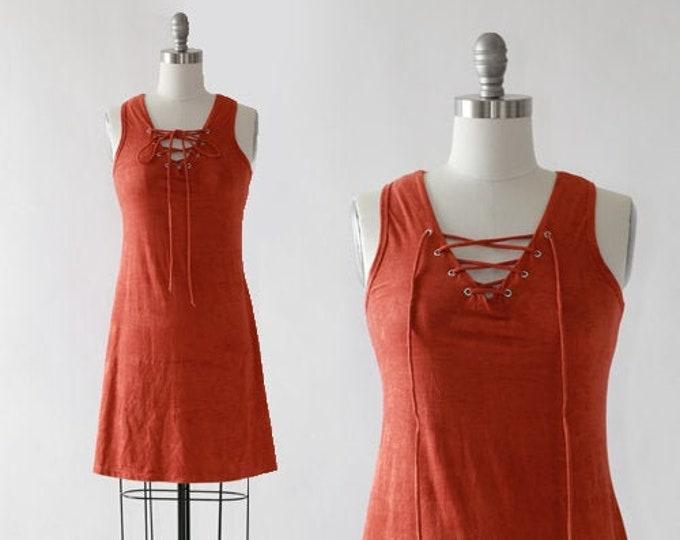 90s paprika faux suede lace up mini Dress