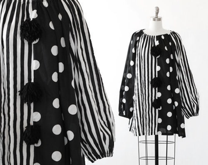 Clown dress | vintage 60s 70s black + white clown Costume | Polka Dot striped cotton tent dress