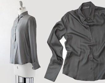 Emporio ARMANI silk dress shirt | Charcoal gray silk shirt