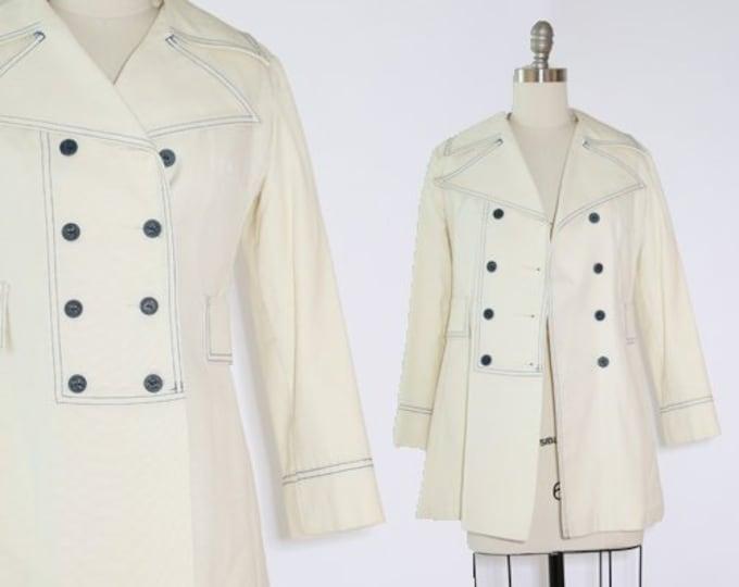 Nautical MOD coat   Vintage 60s white double breasted rain coat jacket S