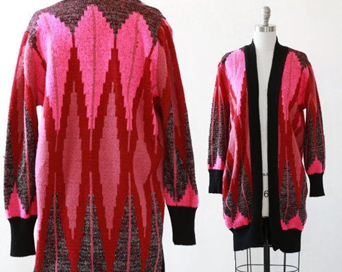 Diamond knit sweater | Vintage 80s deco long cardigan | 1980s Hot pink lurex cardigan