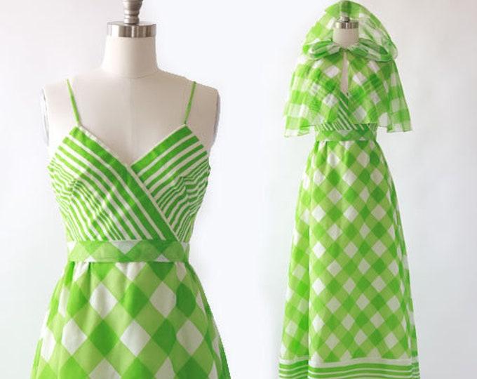 Lorrie Deb dress | Vintage 60s 70s green plaid chiffon hooded cape maxi Dress S