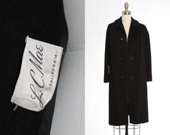 L.C. Mae wool coat   Vintage 50s black wool swing coat   1950s 60s wool coat