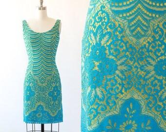 Lilli Diamond dress | Vintage 60s floral crochet wiggle dress S