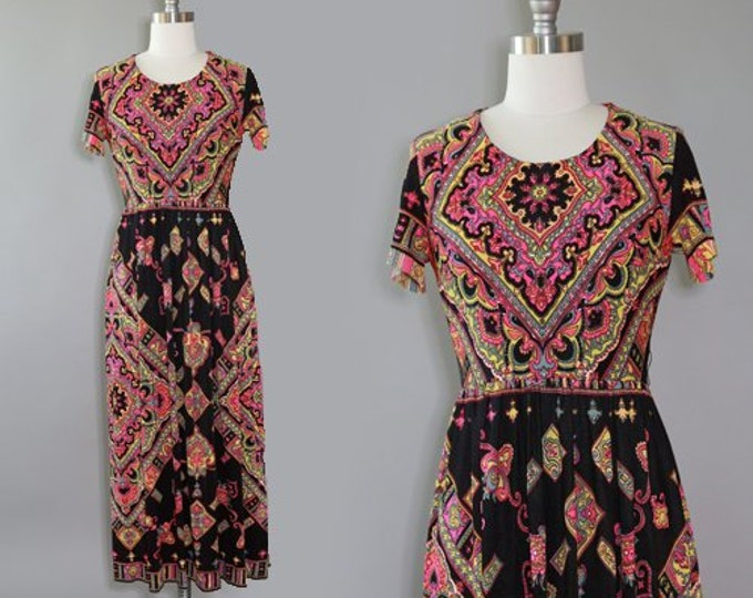 Elegant Miss dress | Vintage 60s Abstract floral Psychedelic maxi dress