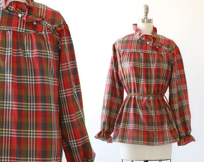 Lucky fall paid blouse | Vintage 70s ruffle plaid blouse