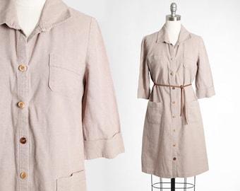 Fawn Linen dress | Vintage 90s brown linen mini dress