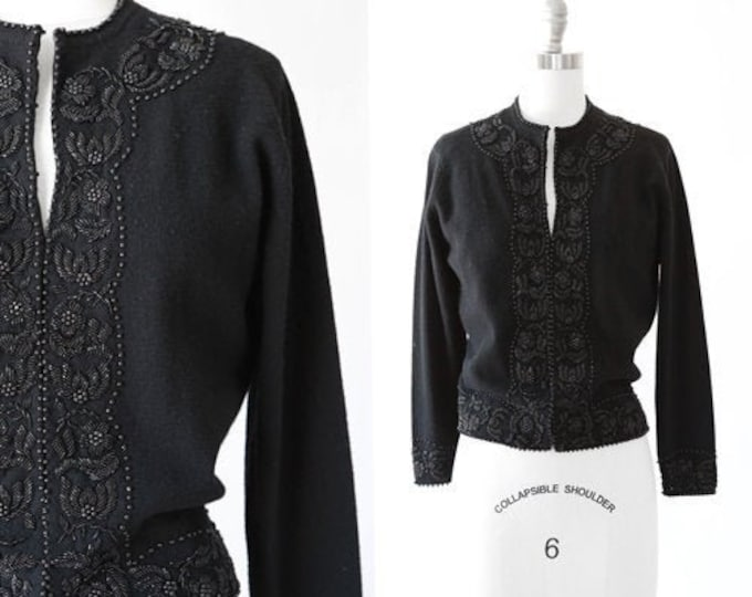 Macy's lambswool cardigan | Vintage 50s black beaded knit sweater | lambswool Angora knit cardigan sweater