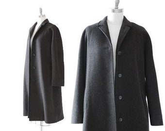 Calvin Klein wool coat   Vintage 90s charcoal gray wool coat   minimalist oversized coat